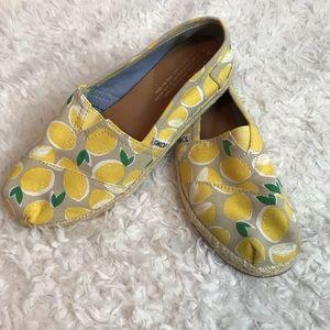 Toms Yellow Lemons Alpargata Flat
